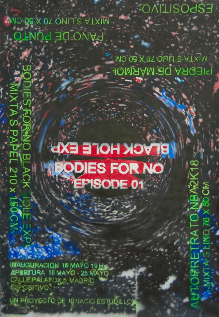 Bodies for no black hole exp. Ep 01 Mix s papel 195x135cm 2019
