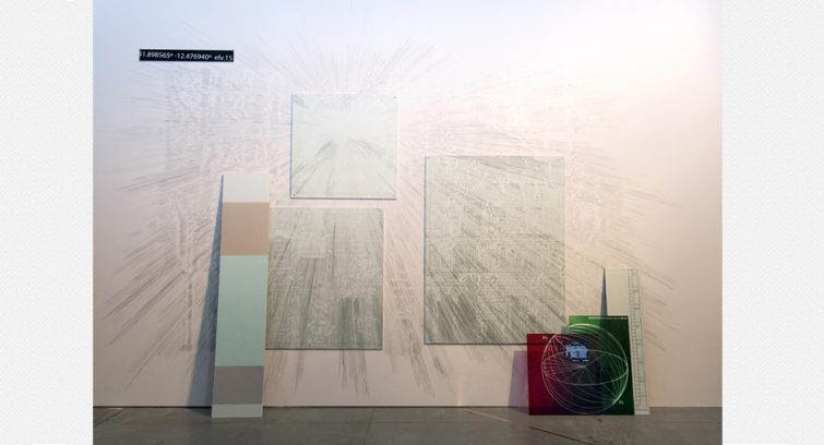 Atmósferas e Interrupciones I - Glass, drawing and paint on sheetrock and the wall - Matadero Madrid 2018